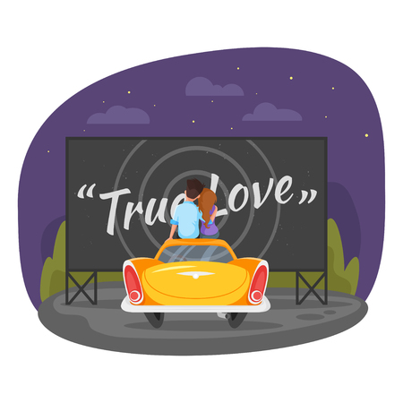 Vector cartoon style illustration of loving couple sitting on the vintage car and watching romantic movie in the parking lot. Isolated on white background. Vettoriali