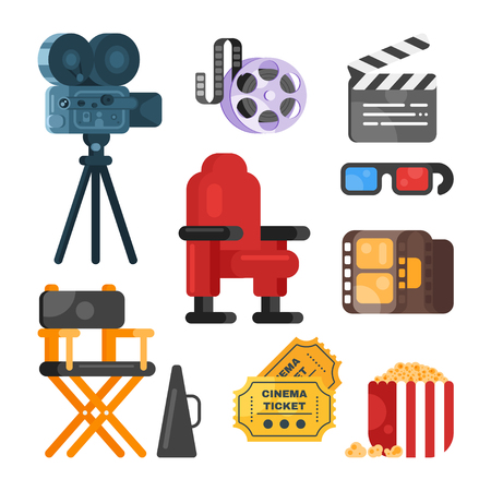 director's chair: Vector flat style set of old cinema icon for online movies. Isolated on white background. Camera, clapboard, directors chair, tickets, pop corn. Illustration