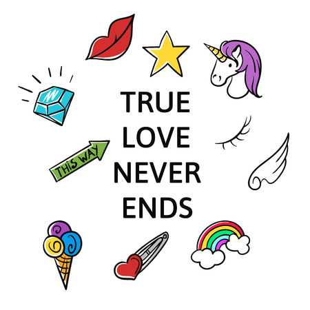 Vector illustration of slogan True love never ends with fashion patch and pins. T-shirt print. Illustration