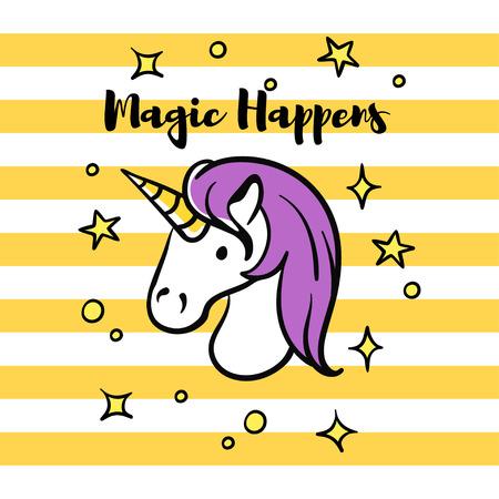 happens: Vector illustration of slogan Magic happens with unicorn and stars. T-shirt print.