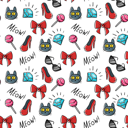 white patches: Vector seamless pattern of fashionable patches. Modern doodle pop art sketch pins and badges. Hand drawn cute and funny fashion stickers kit. Isolated on white background.