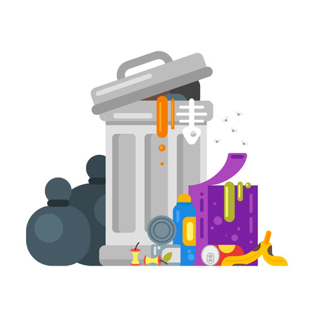waste disposal: Vector flat style illustration of trash. Spoiled food. Icon for web.