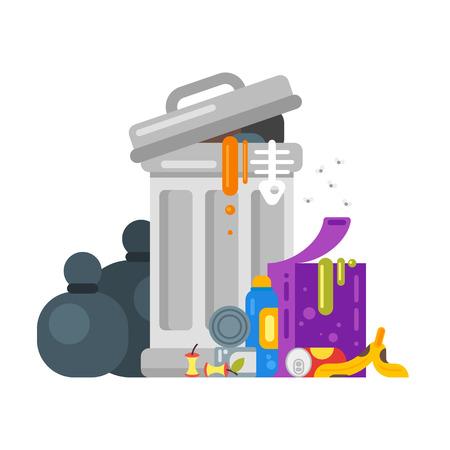 Vector vlakke stijl illustratie van de prullenbak. Bedorven eten. Pictogram voor web. Vector Illustratie