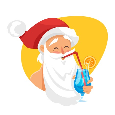 Vector cartoon style illustration of Santa with cocktail. Holiday greeting card template. Isolated on white background. Illustration