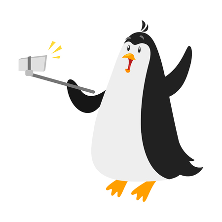 telephone pole: Vector flat style illustration of penguin taking selfie. Isolated on white background. Illustration