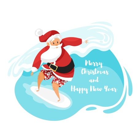 Vector cartoon style illustration of Santa surfer riding the wave. Holiday Christmas and New Year greeting card template.