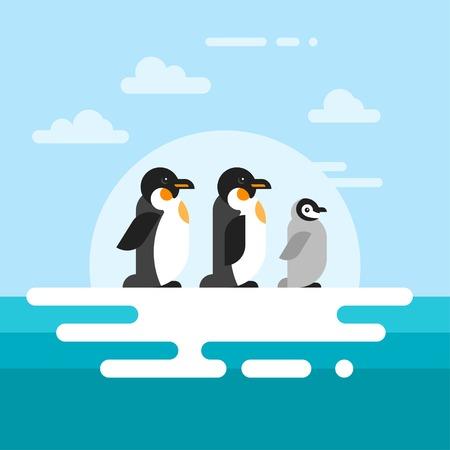 glacier: Vector flat style illustration of penguins on the glacier in the open sea. Illustration