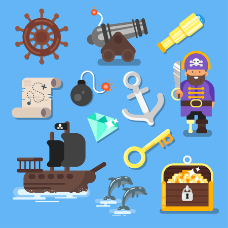 Vector flat style set of board game icon: pirate ship, treasure chest, map. Isolated on blue background.