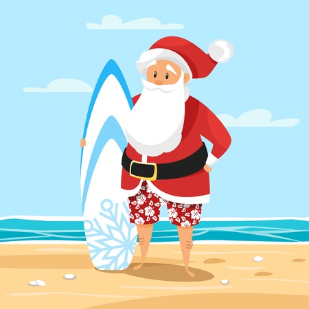 Vector cartoon style illustration of Santa surfer. Holiday greeting card template. Vettoriali