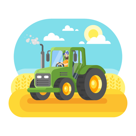 Vector flat style illustration of farmer working in farmed land on tractor.