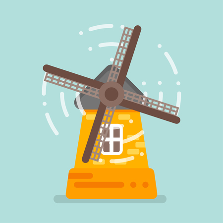 Vector flat style illustration of mill. Isolated on blue background. Icon for web. Illustration