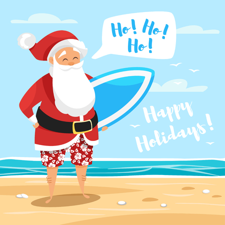 Vector cartoon style illustration of Santa surfer. Holiday greeting card template. Vectores