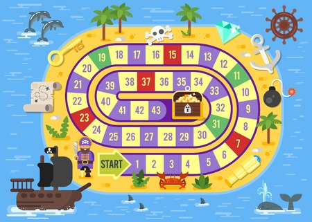 Vector flat style illustration of kids pirate board game template. For print.