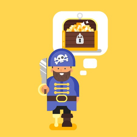 large skull: Vector flat style illustration of pirate and treasure chest. Isolated on yellow background. Illustration