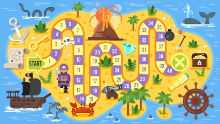 cartoon board: Vector flat style illustration of kids pirate board game template. For print.