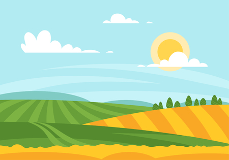 Vector cartoon style illustration of wheat field in a daytime. Sunny day background.