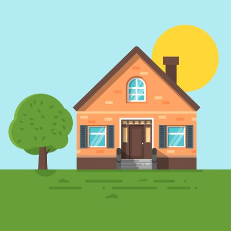 suburban street: Vector flat style illustration of summer house. Icon for web.