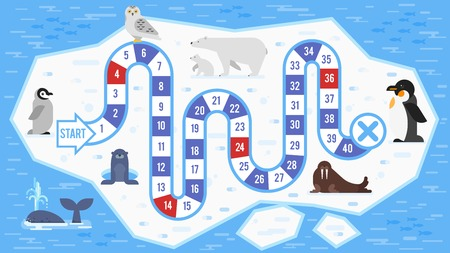 Vector flat style illustration of kids arctic animals board game template. For print.