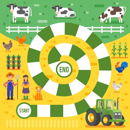 Vector flat style illustration of kids farm board game template. For print.