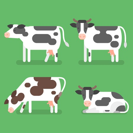 Vector flat style set of cow. Isolated on green background. Icon for web.