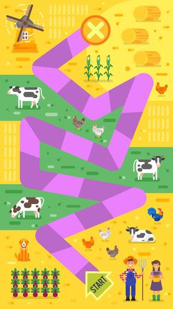 Vector Flachen Stil Illustration Der Kinder Bauernhof Brettspiel