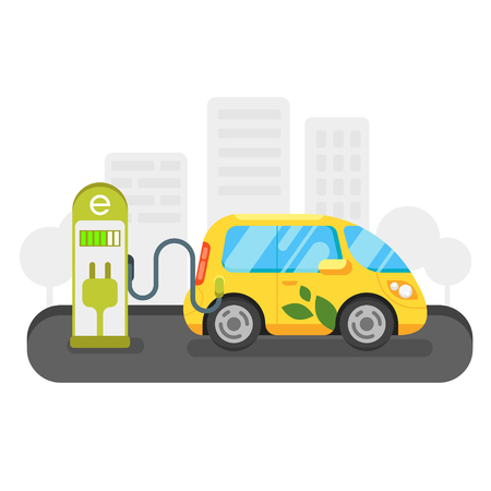Vector flat style illustration of electric car. Eco-friendly transport. Isolated on white background. Icon for web.