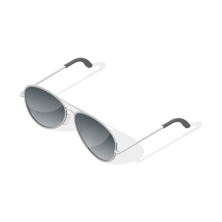 Isometric 3d vector illustration of aviator glasses. Isolated on white background.