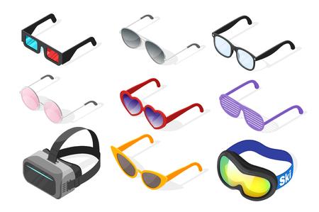 cat's eye glasses: Isometric 3d vector set of glasses. Isolated on white background. Illustration