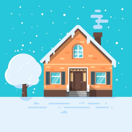 Vector flat style illustration of winter house with tree. Icon for web.