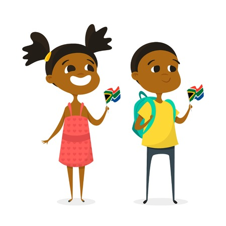 national women of color day: Vector illustration of two cartoon kids with the flags of South Africa. Boy and girl characters. Isolated on white background. Illustration