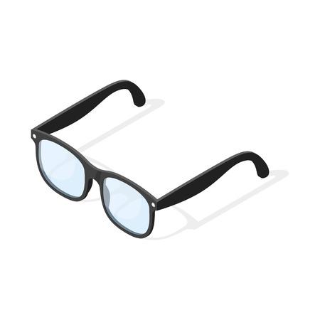 Isometric 3d vector illustration of hipster glasses. Isolated on white background. Illustration