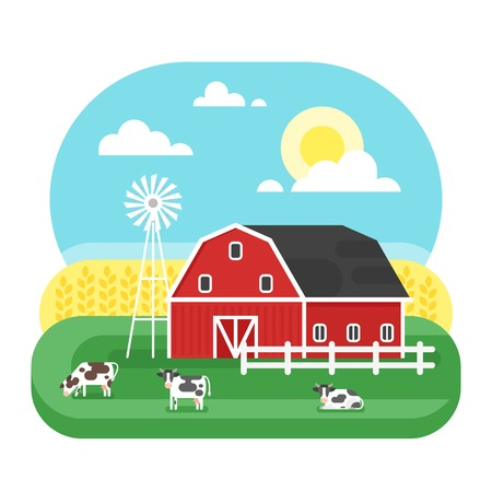 Vector flat style illustration of farm with cows. Isolated on white background.