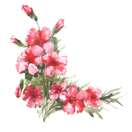 Watercolor raster illustration of flower corner. Raster design element.