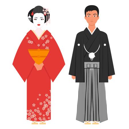 Vector flat style illustration of Japanese traditional clothing . Isolated on white background. Icon for web. Illustration
