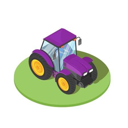 Vector 3d isometric illustration of tractor with driver inside. Agricultural transport icon.
