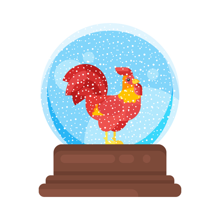 Vector flat style illustration of new year and xmas glass ball with red rooster. Icon for web. Isolated on white background.