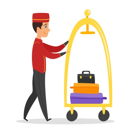 Vector cartoon style illustration of hotel bellboy at work. Isolated on white background.