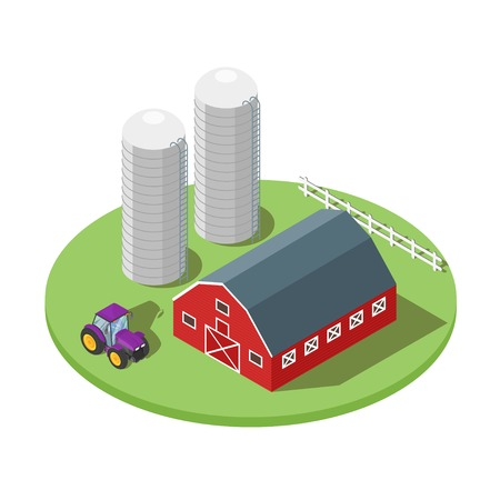 Isometric 3d vector illustration of farm. Tractor and barn. Icon for web. Isolated on white background.