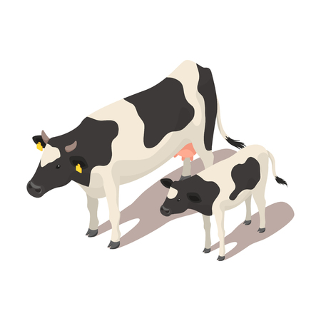 Isometric 3d vector illustration of small and big cow. Icon for web. Isolated on white background.  イラスト・ベクター素材