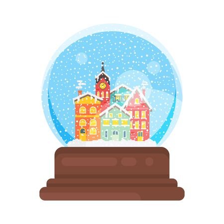 Vector flat style illustration of snow globe house new year and xmas glass ball. Icon for web. Isolated on white background. Illustration