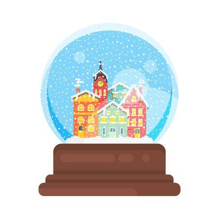 Vector vlakke stijlillustratie van het huisnieuwjaar van de sneeuwbol en de bal van het Kerstmisglas. Pictogram voor web. Geïsoleerd op witte achtergrond Stock Illustratie
