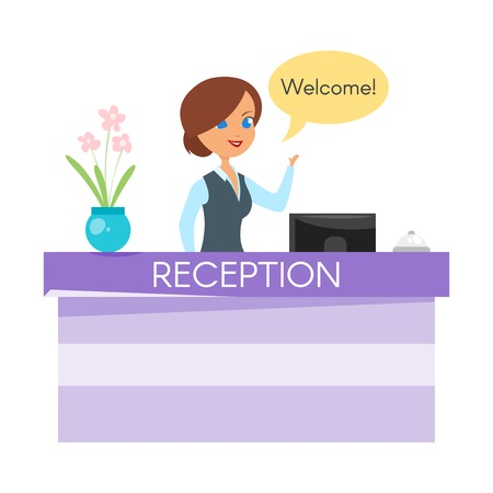 standing reception: Vector cartoon style illustration of hotel receptionist. Happy woman standing at the reception counter desk with bell.
