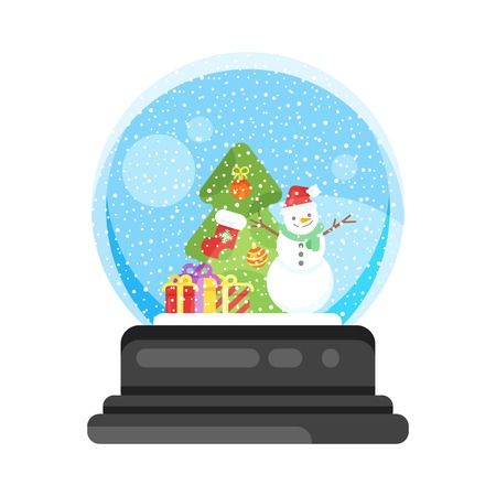 Vector flat style illustration of new year and xmas glass ball with snowman. Icon for web. Isolated on white background.