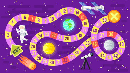 Vector flat style illustration of kids science and space board game. Template for print. Illustration