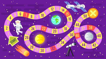 Vector illustration de style plat de la science des enfants et jeu de plateau de l'espace. Modèle pour l'impression. Banque d'images - 68321896