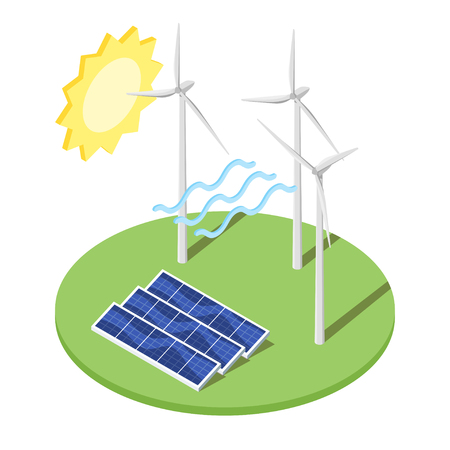 Isometric 3d vector illustration of windmill and solar panels. Alternative energy. Icon for web. Isolated on white background.
