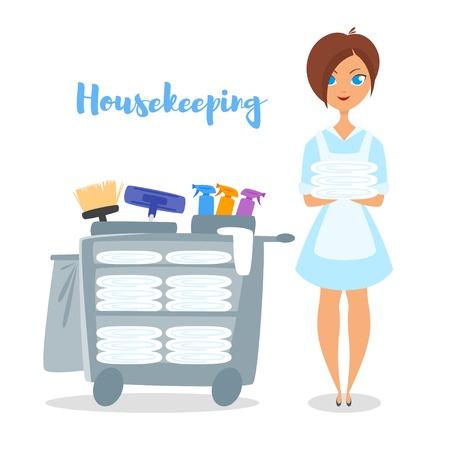 Icona di stile cartoon illustrazione del governante albergo. donna sveglia che tiene biancheria da letto pulita.