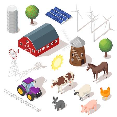 conjunto del campo vector 3D isométrico. Los animales de granja y los edificios. Icono para web. Aislado en el fondo blanco. Ilustración de vector