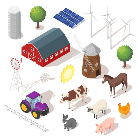 midwest: Isometric 3d vector farm set. Farm animals and buildings. Icon for web. Isolated on white background.