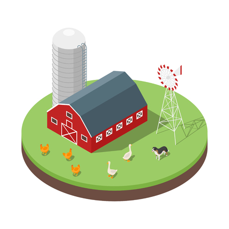 Isometric 3d vector illustration of farm. Animals and barn. Icon for web. Isolated on white background.